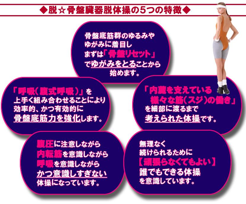 脱☆骨盤臓器脱体操の5つの特徴